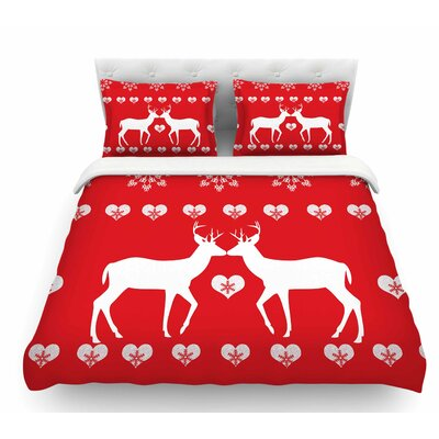 Christmas Deer 2 by Suzanne Carter Holiday Featherweight Duvet Cover Size: Twin