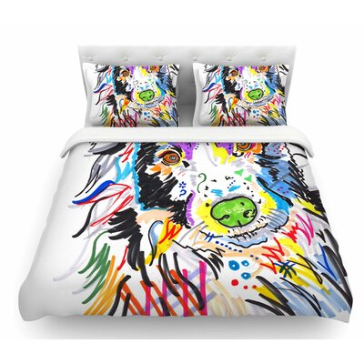 Buzz by Rebecca Fischer Dog Featherweight Duvet Cover Size: Queen