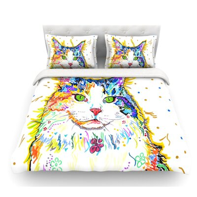 Royal by Rebecca Fischer Rainbow Cat Featherweight Duvet Cover Size: Queen