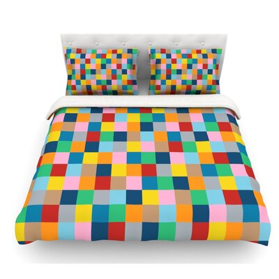 Color Blocks Zoom by Project M Geometric Rainbow Featherweight Duvet Cover Size: Queen
