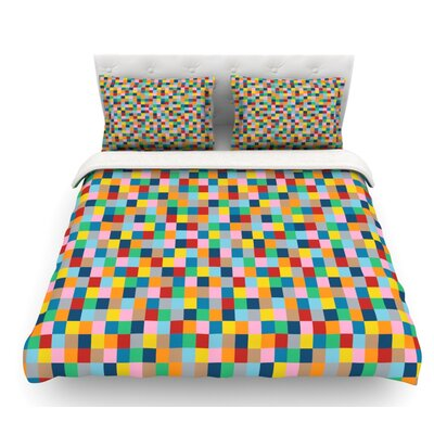 Color Blocks by Project M Geometric Rainbow Featherweight Duvet Cover Size: Queen
