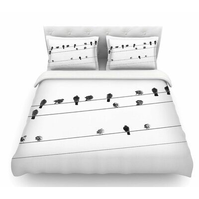 Birds on Wire by Qing Ji Featherweight Duvet Cover Size: King