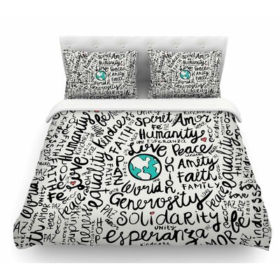 Positive World by Pom Graphic Design Featherweight Duvet Cover Size: Twin