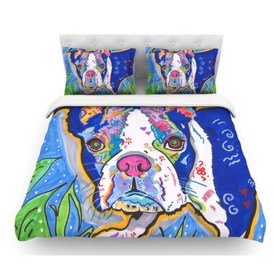 Addy Mae by Rebecca Fischer Pug Terrier Featherweight Duvet Cover Size: Queen