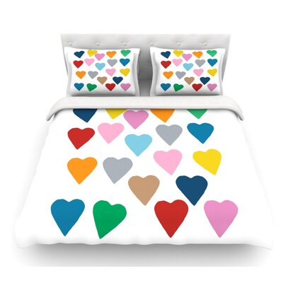 Colorful Hearts by Project M Featherweight Duvet Cover Size: Queen