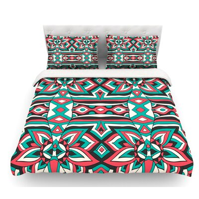 Ethnic Floral Mosaic by Pom Graphic Design Featherweight Duvet Cover Size: Queen