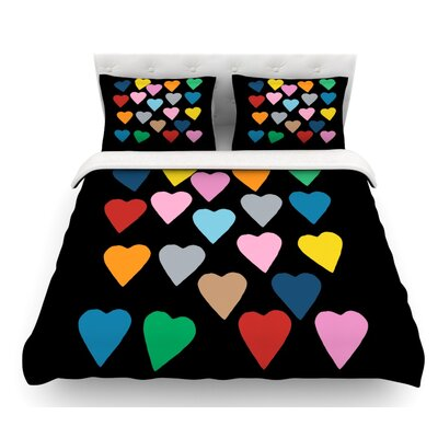 Hearts Color by Project M Featherweight Duvet Cover Size: King