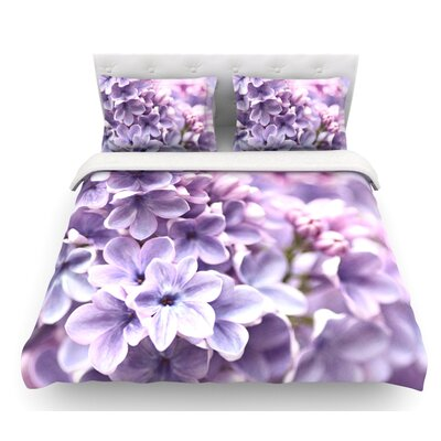 Lilac by Sylvia Cook Flowers Featherweight Duvet Cover Size: Queen