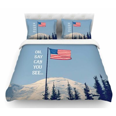 Oh Say Can You See by Robin Dickinson Flag Featherweight Duvet Cover Size: Twin