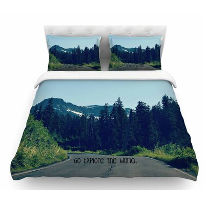 Go Explore The World by Robin Dickinson Featherweight Duvet Cover Size: Queen