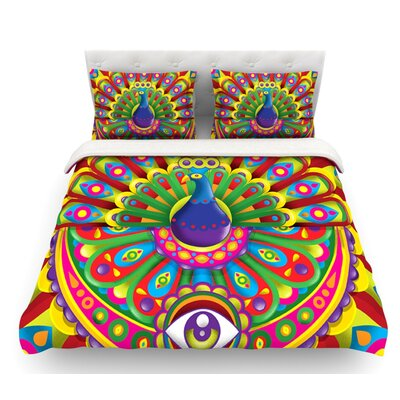 Peacolor by Roberlan Rainbow Peacock Featherweight Duvet Cover Size: Queen