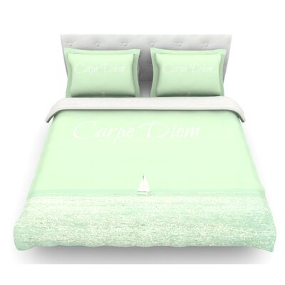 Carpe Diem by Robin Dickinson Ocean Featherweight Duvet Cover Size: Twin