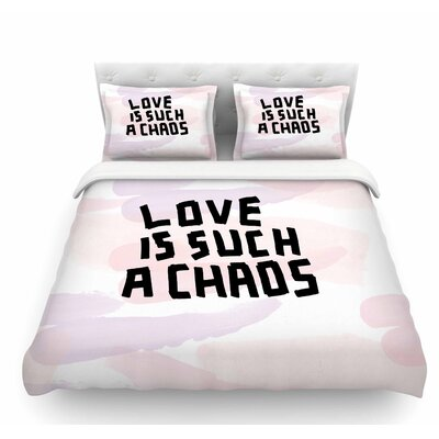 Love is Such a Chaos by Vasare Nar Pastel Featherweight Duvet Cover Size: Queen