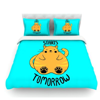 Diet Starts Tomorrow by Tobe Fonseca Cat Featherweight Duvet Cover Size: Queen