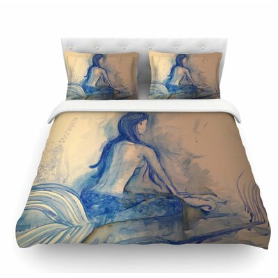 Mer-Maid? Huh by Theresa Giolzetti Coral Featherweight Duvet Cover Size: King