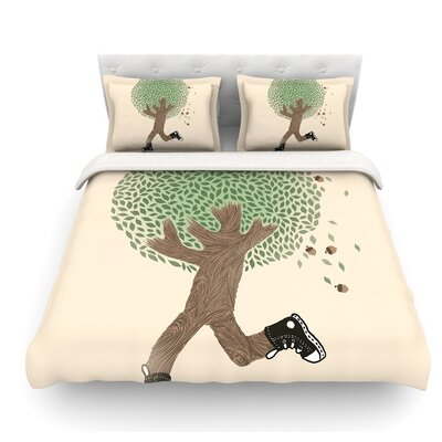 Run for Your Life by Tobe Fonseca Tree Illustration Featherweight Duvet Cover Size: Queen