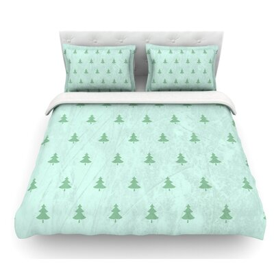 Pine Pattern by Snap Studio Featherweight Duvet Cover Size: King, Color: Teal/Green