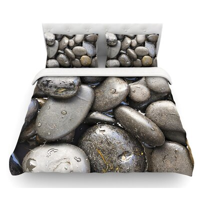 Skipping Stone by Susan Sanders Rocks Featherweight Duvet Cover Size: Queen