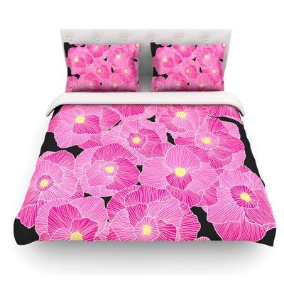 In Bloom by Skye Zambrana Featherweight Duvet Cover Size: King, Color: Pink/Black