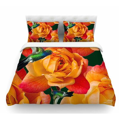 Roses in Hummingbird by Shirlei Patricia Muniz Nature Featherweight Duvet Cover Size: Queen
