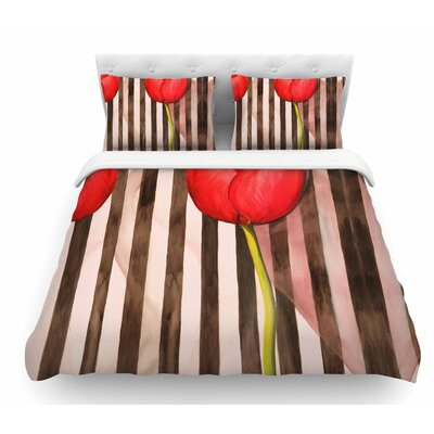 Classic Rose by S. Seema Z Stripes Featherweight Duvet Cover Size: King