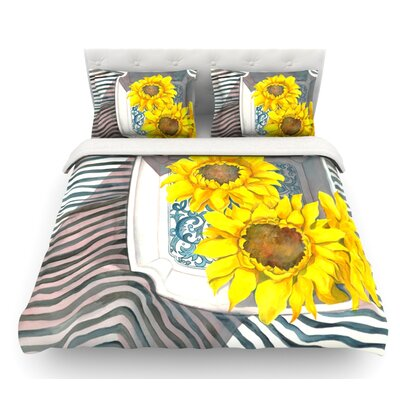 Finall Sunflower by S. Seema Z Flower Featherweight Duvet Cover Size: Twin