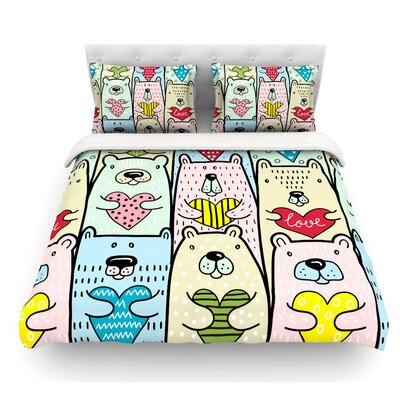 Bear Hugs by Snap Studio Animal Illustration Featherweight Duvet Cover Size: Twin