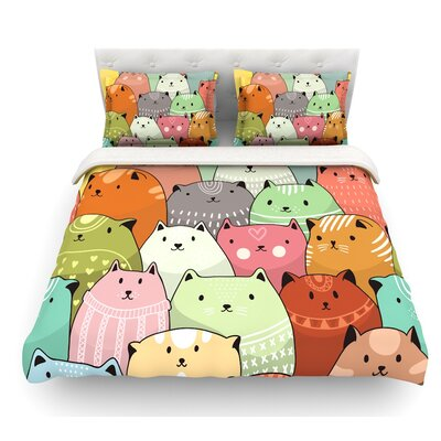 Kitty Attack by Snap Studio Cat Illustration Featherweight Duvet Cover Size: King