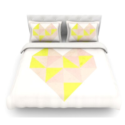 Geo Heart by Skye Zambrana Featherweight Duvet Cover Size: Twin