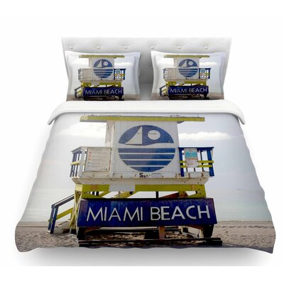 Miami Beach Lifeguard by Philip Brown Featherweight Duvet Cover Size: Queen