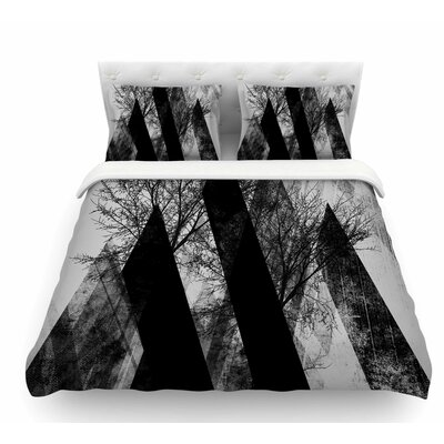 Trees V2 by Pia Schneider Gray Featherweight Duvet Cover Size: Twin
