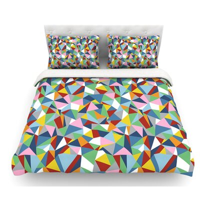 Abstraction by Project M Abstract Featherweight Duvet Cover Color: Rainbow, Size: Queen