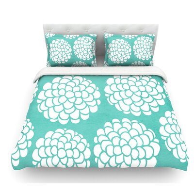 Blossoms by Pom Graphic Design Circles Featherweight Duvet Cover Size: Queen, Color: Hydrangea/Teal