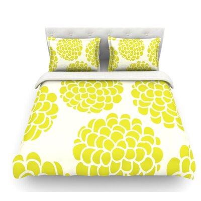 Blossoms by Pom Graphic Design Circles Featherweight Duvet Cover Color: Grape/Yellow, Size: King