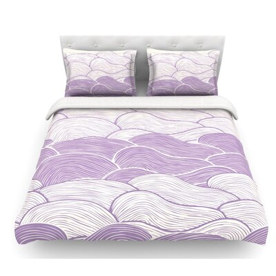 The Lavender Seas by Pom Graphic Design Waves Featherweight Duvet Cover Size: Queen