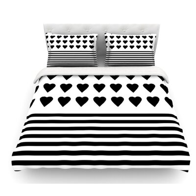 Heart Stripes by Project M Monochrome Lines Featherweight Duvet Cover Size: King