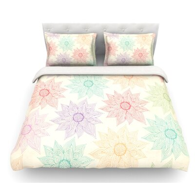 Spring Florals by Pom Graphic Design Rainbow Featherweight Duvet Cover Size: Queen