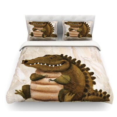 Smiley Crocodiley by Rachel Kokko Featherweight Duvet Cover Size: Twin