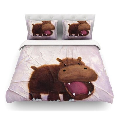 The Happy Hippo by Rachel Kokko Featherweight Duvet Cover Size: Twin