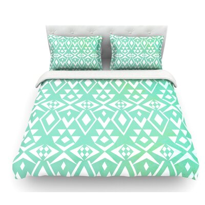 Ancient Tribe by Pom Graphic Design Seafoam Featherweight Duvet Cover Size: Queen