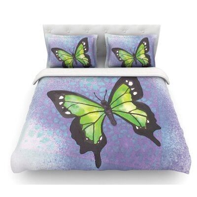 Flutter by Padgett Mason Featherweight Duvet Cover Size: King, Color: Lime/Purple/Lavender