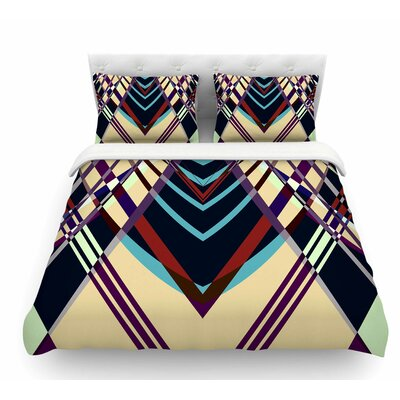 Sweeping Line Pattern I-E by Pia Schneider Geometric Featherweight Duvet Cover Size: King
