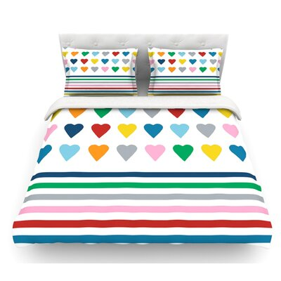 Heart Stripes by Project M Rainbow Shapes Featherweight Duvet Cover Size: Queen