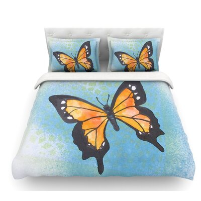 Flutter by Padgett Mason Featherweight Duvet Cover Size: Twin, Color: Blue/Orange