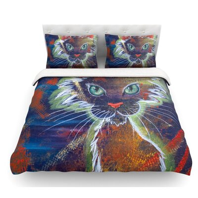Rave Kitty by Padgett Mason Featherweight Duvet Cover Size: Twin