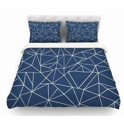 Abstraction Outline Navy by Project M Abstract Featherweight Duvet Cover Size: Queen