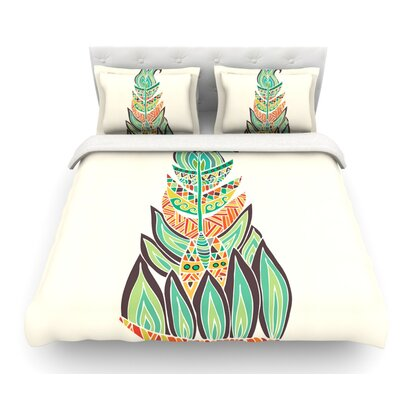 Tribal Feather by Pom Graphic Design Featherweight Duvet Cover Size: Queen