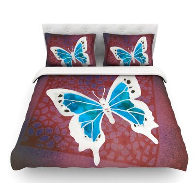 Flutter by Padgett Mason Featherweight Duvet Cover Size: Twin, Color: Teal/Maroon/Aqua
