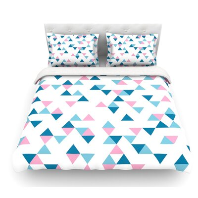 Triangles by Project M Blush Featherweight Duvet Cover Color: Navy Blue/White, Size: Queen