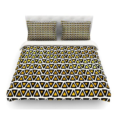 Aztec Triangles Gold by Pom Graphic Design Featherweight Duvet Cover Size: Queen